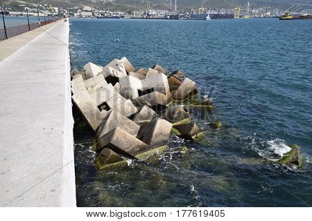 Breakwater Of The Rectangular Stone Figures.