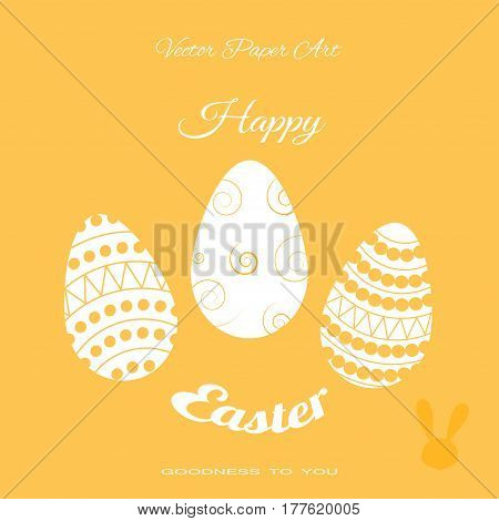 Vector poster of Easter eggs with different pattern text on the yellow background.