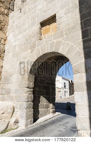 Avila (Castilla y Leon Spain): the famous medieval walls surrounding the city and a door