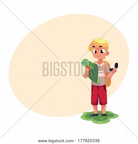 Teenage Caucasian boy with a backpack studying map, holding compass, camping, hiking concept, cartoon vector illustration with place for text. Boy scout, tourist with map and compass