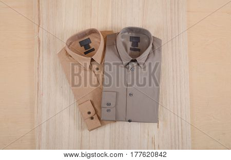Business classic men's two shirts on wooden background