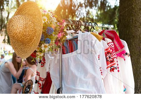 MINSK, BELARUS - July 5, 2015: Belarusian ethnic national folks ornament on clothes. Slavic Traditional Pattern Ornament Embroidery. Culture of Belarus