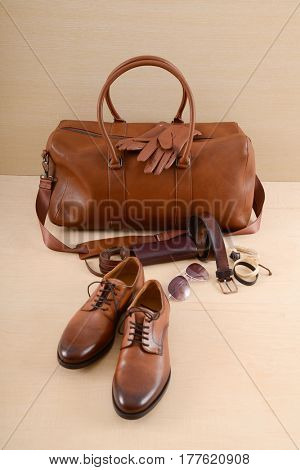 men's casual fashion apparel and accessories on wooden