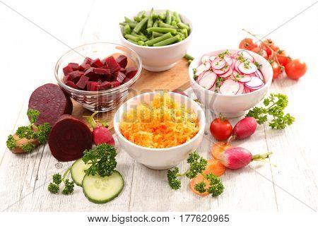 assorted vegetable salad and ingredients