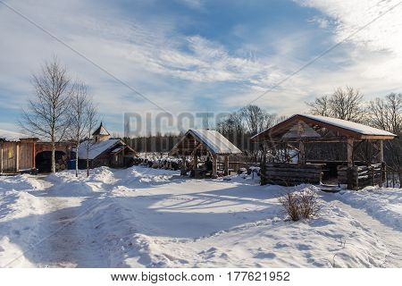 Rural yard on a cold winter day