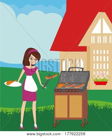 Woman cooking on a grill , vector illustration