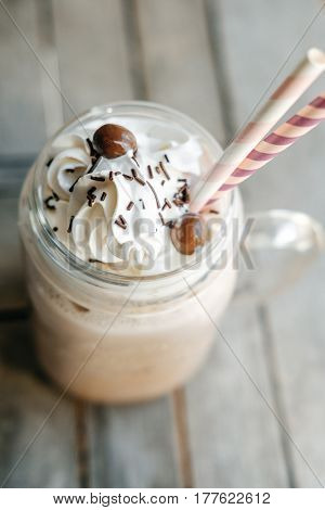 Homemade Hot Chocolate With Whipped Cream Topping  In Retro Glass Jar (mason Jar), Pink Straw And Ca