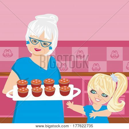 Grandma baking cookies with her granddaughter , vector illustration