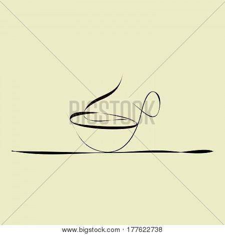 illustration with cup of coffee on the table