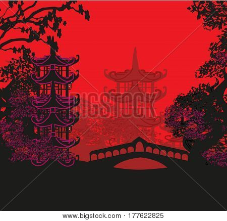 Beautiful abstract asian landscape card , vector illustration