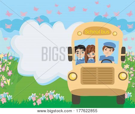 School bus with happy children , vector illustration