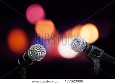 Microphone on stage isolate on out door background
