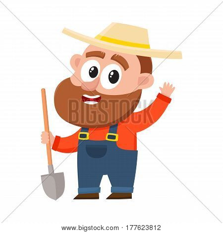 Funny farmer, gardener character in straw hat and overalls holding shovel, waving hello, greeting, cartoon vector illustration isolated on white background. Comic farmer character, design elements