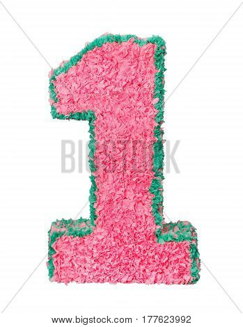 Digit one of the papier mache pink color isolated on white background