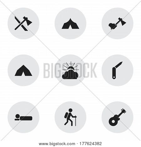 Set Of 9 Editable Travel Icons. Includes Symbols Such As Gait, Bedroll, Refuge And More. Can Be Used For Web, Mobile, UI And Infographic Design.