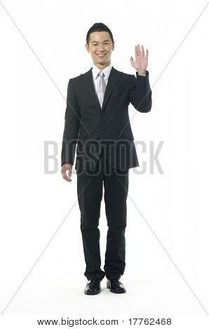 Asian businesswoman shrugging her shoulder