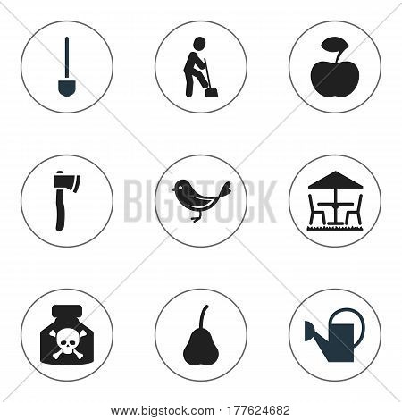 Set Of 9 Editable Farm Icons. Includes Symbols Such As Duchess, Fresh Fruit, Bailer And More. Can Be Used For Web, Mobile, UI And Infographic Design.