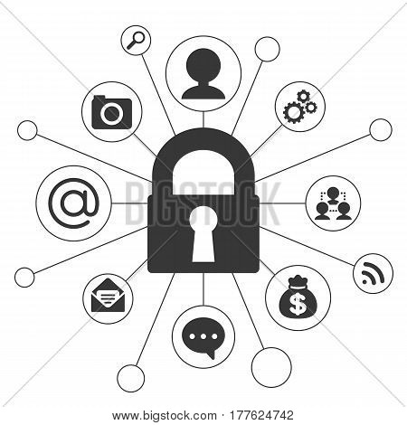 Lock and icon about security concept in silhouette design
