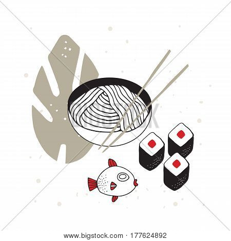 Hand drawn noodles bowl with chopsticks Sushi Fish Asian cuisine Vector illustration