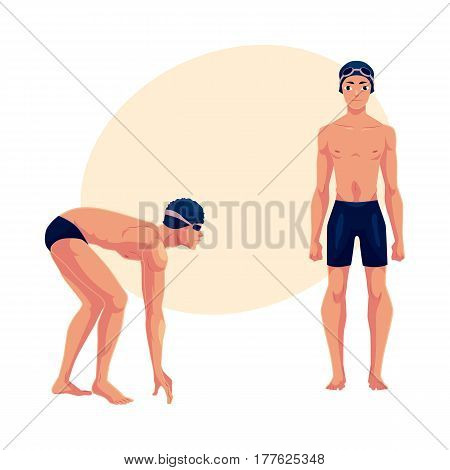 Handsome man, swimmer in swimming suit, cap, in standing and starting positions, cartoon vector illustration with place for text. Man, male swimmer in swimming suit