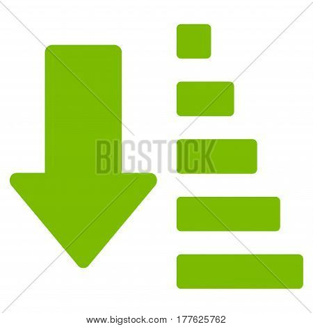 Sort Down Arrow vector icon. Flat eco green symbol. Pictogram is isolated on a white background. Designed for web and software interfaces.