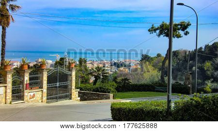 Magnificent view of a typical coastal landscape of central Italy: The upper part of Giulianova in Abruzzo a mystical land that seems enchanted.