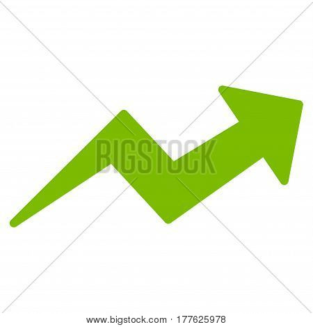 Trend Up Arrow vector icon. Flat eco green symbol. Pictogram is isolated on a white background. Designed for web and software interfaces.