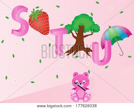 Capital S T and U with strawberry tree and umbrella. Available in EPS 10 format.