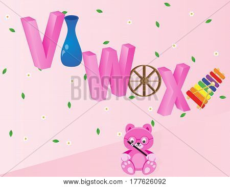 Capital V W and X with vase wheel and xylophone. Available in EPS 10 format.