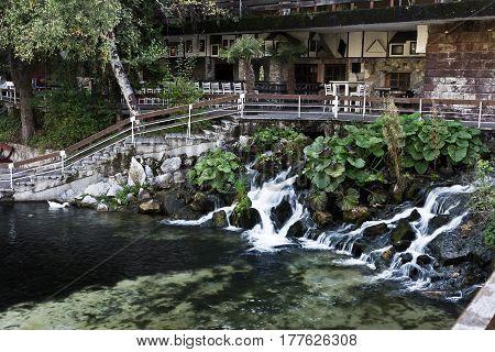 Lake Kleptuza toward karst spring and waterfall, Velingrad