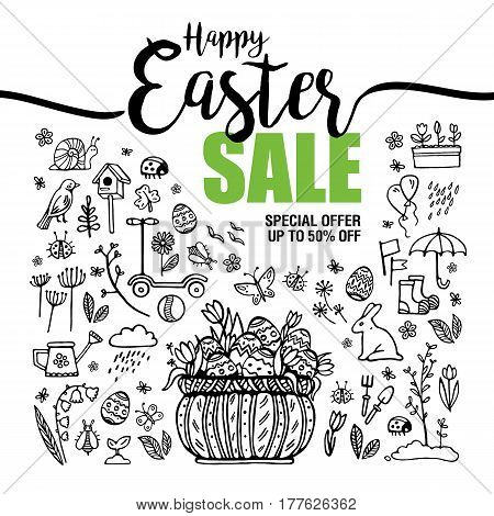 poster Happy Easter sales, set of black icons and symbols with Basket with eggs on white background, flyer templates with lettering. Typography poster, card, label, banner design element. Vector illustration