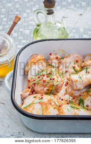 Fresh Chicken Legs With Honey And Herbs
