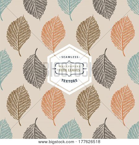 Floral seamless pattern with autumn tree leaves