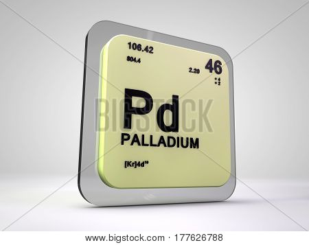 Palladium - Pd - chemical element periodic table 3d render