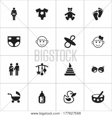 Set Of 16 Editable Child Icons. Includes Symbols Such As Spoon, Twins Babies, Stroller And More. Can Be Used For Web, Mobile, UI And Infographic Design.