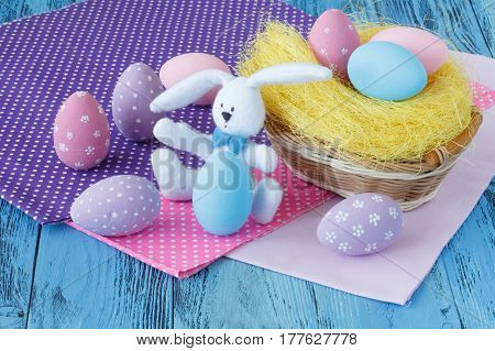 Kids Easter Scene With Colored Eggs