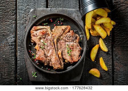 Fresh Chips And Tbone Steak With Herbs And Salt