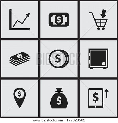 Set Of 9 Editable Banking Icons. Includes Symbols Such As Exchange Center, Specie, Diagram And More. Can Be Used For Web, Mobile, UI And Infographic Design.