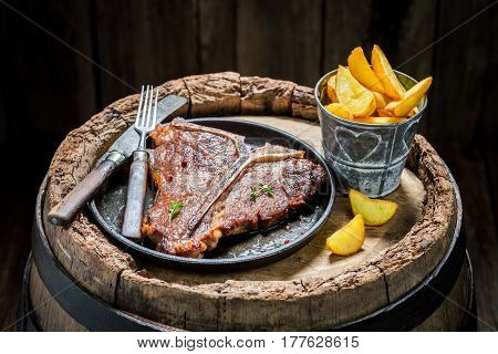 Yummy Chips And Tbone Steak With Herbs And Salt