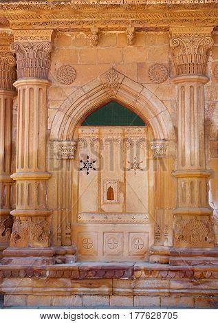 Decorative detail of Mandir Palace in Jaisalmer Rajasthan India