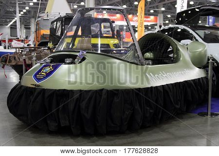 MOSCOW - MARCH 09 2017: Hovercraft Neoteric Hovertrek for 10 International boat show in Moscow. Russia.