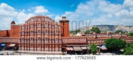 Famous Rajasthan landmark - Hawa Mahal palace (Palace of the Winds) Jaipur Rajasthan
