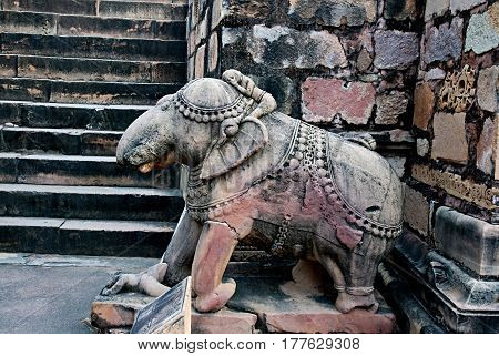 Sculpture of elephant in group the famous temples of Khajuraho. This is a large group of medieval hindu and jain temples famous for their erotic sculptures. Situated in Khajuraho Madhya Pradesh India. Unesco world heritage site.