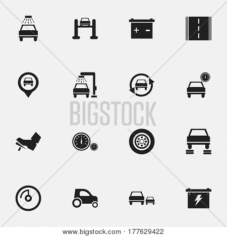 Set Of 16 Editable Traffic Icons. Includes Symbols Such As Highway, Accumulator, Speed Display And More. Can Be Used For Web, Mobile, UI And Infographic Design.