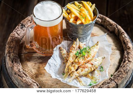 Homemade Smelt Fish And Chips With Salt And Herbs