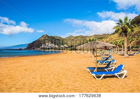 Canary Islands Tenerife. Beach las Teresitas with yellow sand. Canary Islands
