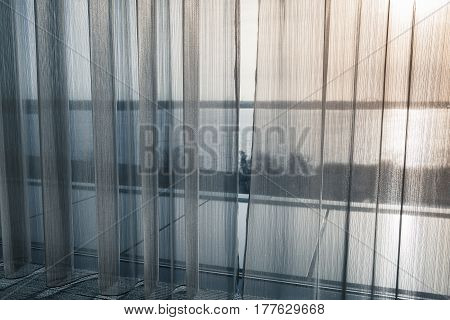 Tulle Curtain With Waving Pattern