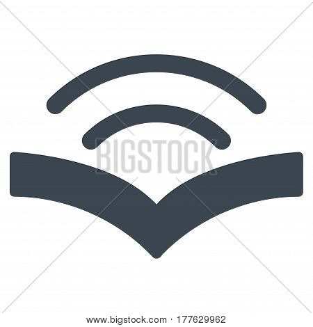 Audiobook vector icon. Flat smooth blue symbol. Pictogram is isolated on a white background. Designed for web and software interfaces.