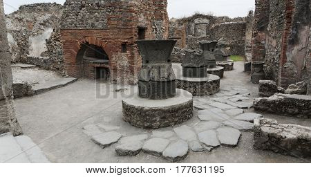 Ancient bread ovens in the city of Pompeii. Vesuvius's eruption. Naples, Campania, Italy