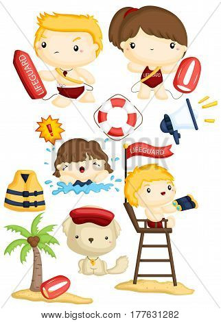 a lifeguard vector set with many items
